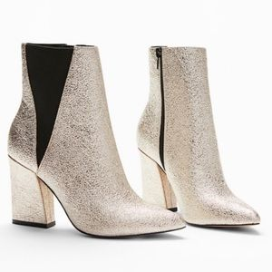 Express Gold Glitter Ankle Booties Boots 8